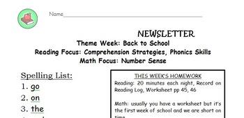 Second grade HM spelling list homework newsletter for the full year