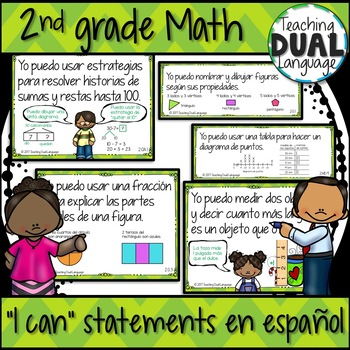 """Second grade Math """"I can"""" posters - SPANISH"""