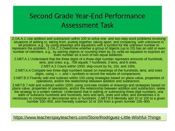 Second grade New Year End Math Performance Task 2015 version