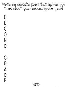 Second grade acrostic poem