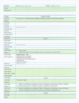 Second grade template lesson plan template for first quarter