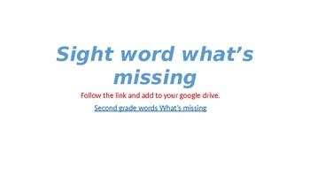 Second grade what's missing sight word activity