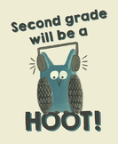 Second grade will be a hoot! - Owl Theme Treat Bag Labels - Open House