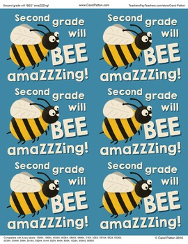 Second grade will be amazing! - Goodie bag labels - Back to school - End of year