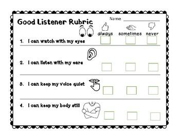 Second step self assessment for listening behavior