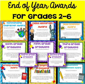 Second through Sixth Grade Awards and Certificates- Perfect for End of Year