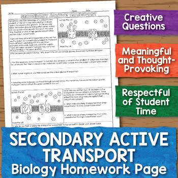 Secondary Active Transport Biology Homework Worksheet