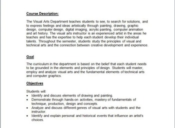 Secondary Art Syllabus for grades 9 - 12