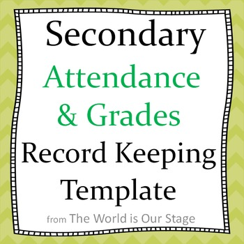 Secondary Attendance and Gradebook Grade Book Record Keeping Template