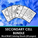Secondary Cells and Organelles Word Wall Coloring Sheets (