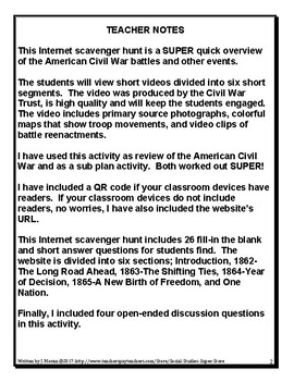 Secondary Civil War Review Scavenger Hunt