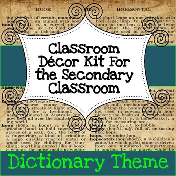 Secondary Classroom Decor Pack--Dictionary Theme