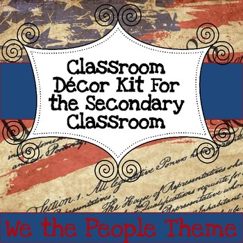 Secondary Classroom Decor Pack--Patriotic Grunge