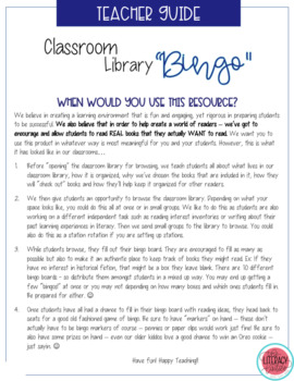 Secondary Classroom Library Bingo