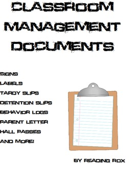 Secondary Classroom Management Documents and Forms