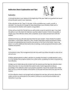 Secondary Classroom Management: Student Reflection Sheet and Teacher Log