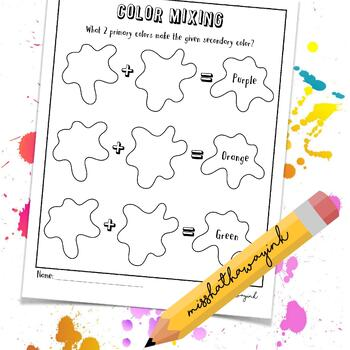 Secondary Color Mixing | Worksheet