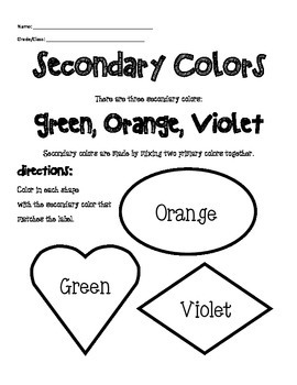 Secondary Color Worksheet