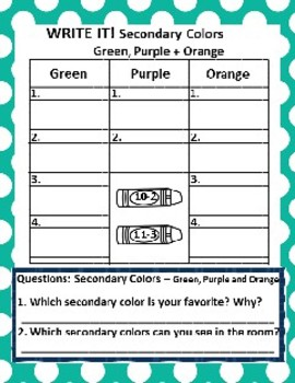 Secondary Colors: Green, Purple, Orange Picture Sort Graph and Chart Activities