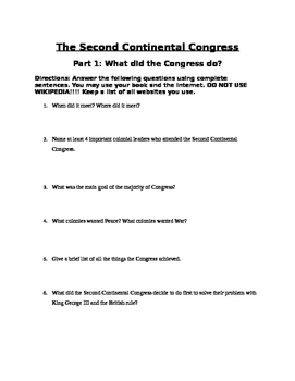 Second Continental Congress Project