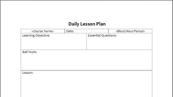 Secondary Daily Lesson Plan