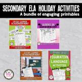 Secondary ELA Holiday Activities Printable Bundle Grammar