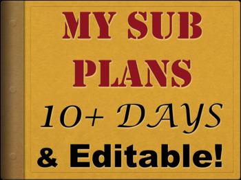 10 Days of Sub Plans Middle / High School English Sub Lesson BUNDLE (Editable)