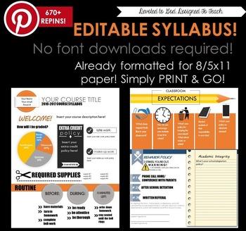 Secondary Editable Visual Syllabus 2016-2017 PRINT & GO!