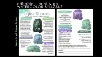 Secondary Editable Visual Watercolor Syllabus PRINT & GO!