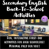 Secondary English Back to School Activities