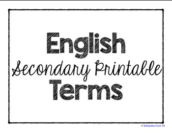 Secondary Printable English Terms