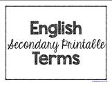 Secondary Printable English Terms