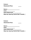 Secondary Homework Passes and Tickets