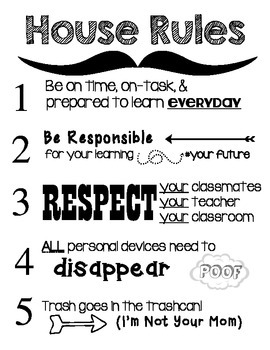 """Secondary """"House"""" Rules Classroom Poster (non BYOD)"""