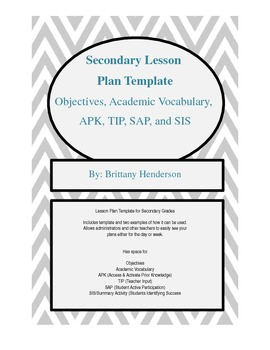 Secondary Lesson Plan Template (Parts of a Lesson)