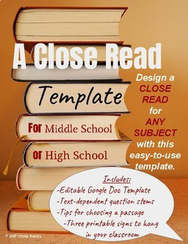 Secondary Level Close Read Template