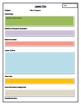 Secondary Level Lesson Plan Template