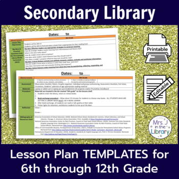 Secondary Library Lesson Plan Templates With Common Core Standards
