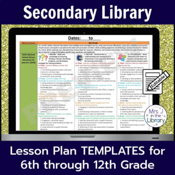 Secondary Library Lesson Plan Templates (with Common Core Standards)