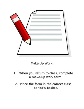 Secondary Make Up Work Form