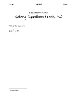 Secondary Math 1 Tasks
