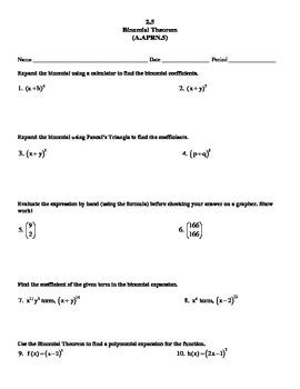 Secondary Math 3 Unit 2 Binomial Theorem
