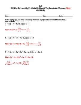 Common Core Secondary Math 3 Unit 2 Remainder Th., Long Div.,Synthetic Div.