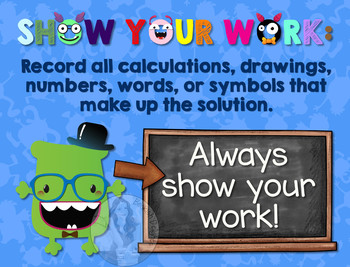 Secondary Math Terms & Definitions - Fun Monster Math Poster - SHOW YOUR WORK