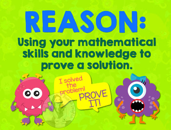 Secondary Math Terms & Definitions - Fun Monster Math Themed Poster - REASON