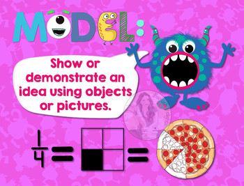 Secondary Math Terms & Definitions - Fun Monster Math Themed Poster - MODEL