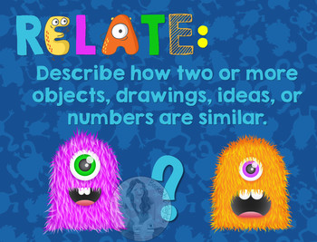 Secondary Math Terms & Definitions - Fun Monster Math Themed Poster - RELATE