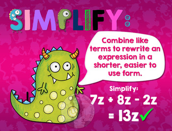 Secondary Math Terms & Definitions - Fun Monster Math Themed Poster - SIMPLIFY