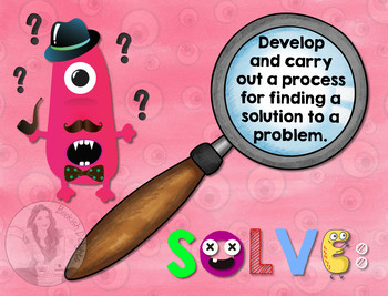 Secondary Math Terms & Definitions - Fun Monster Math Themed Poster - SOLVE