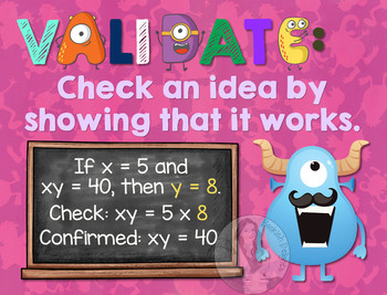 Secondary Math Terms & Definitions - Fun Monster Math Themed Poster - VALIDATE